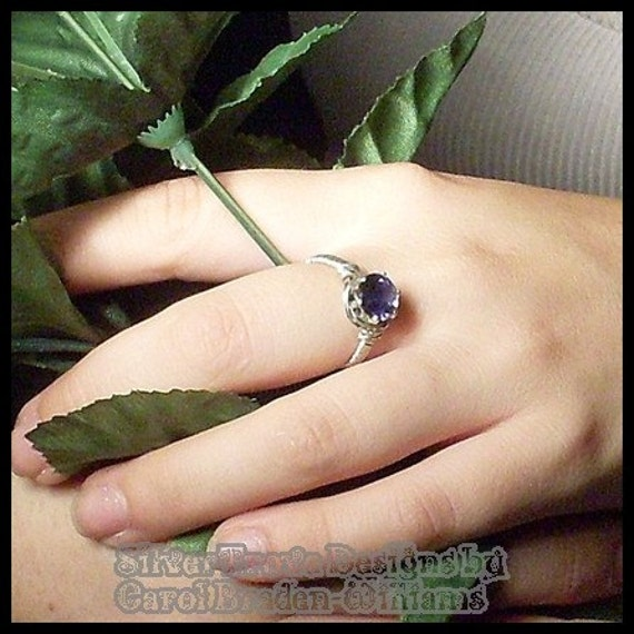 Sterling Silver Iolite Solitare Ring Deep Sapphire Blue Wire Sculpted Any Size