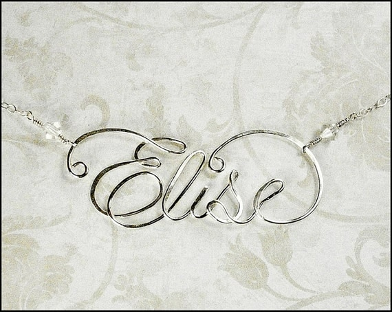 Sterling Silver Calligraphy Script Name Necklace Personalized