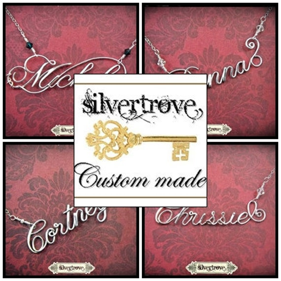 """RESERVED for Katie Porter-  Personalized Sterling Silver Calligraphy Script Monogram Necklace 18"""" With Handmade Clasp"""