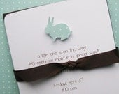Hand Crafted Pool Baby Bunny Baby Shower Invitations  - on Cotton Stock with Custom Return Address Labels