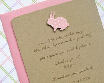 recycled bunny first birthday invitation, kraft with pink polka dot bunny 1st birthday invitation