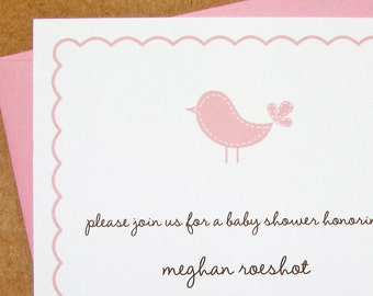 sweet blossom birdie baby shower invitation girl