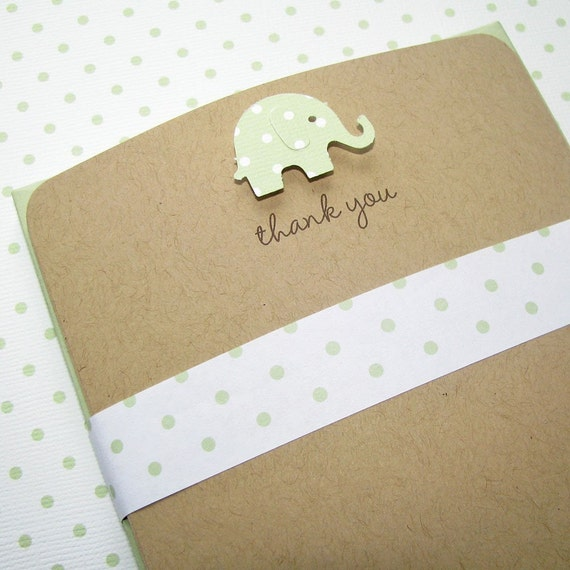 recycled baby thank you notes celery green elephant on