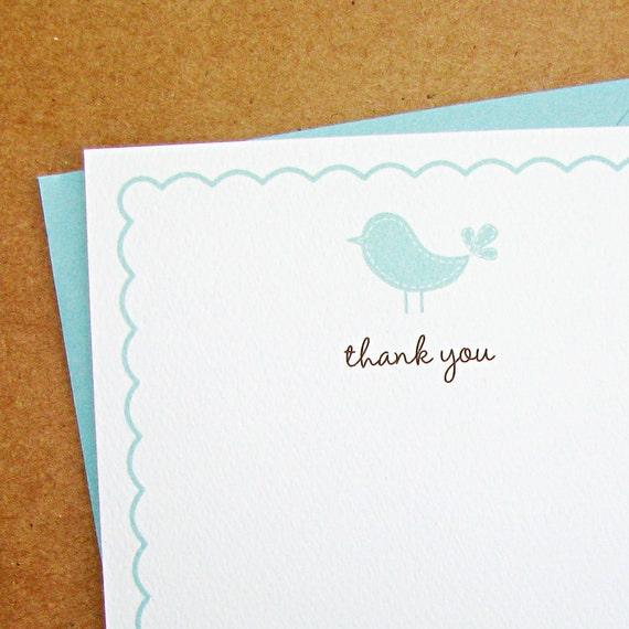 Pool Baby Bird with Scalloped Border Baby Shower Thank You Cards - Set of 16