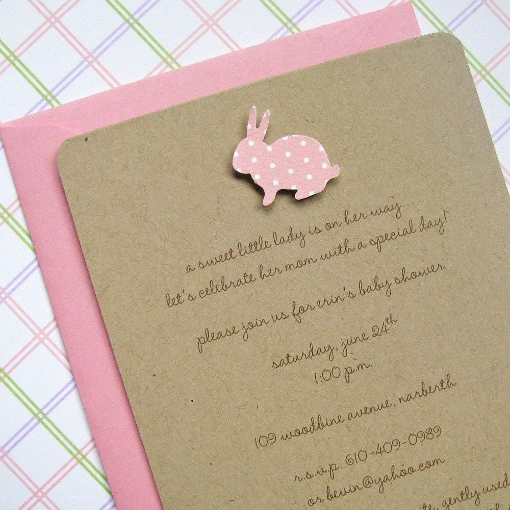 baby girl bunny kraft baby shower invites by graciegirlnotes