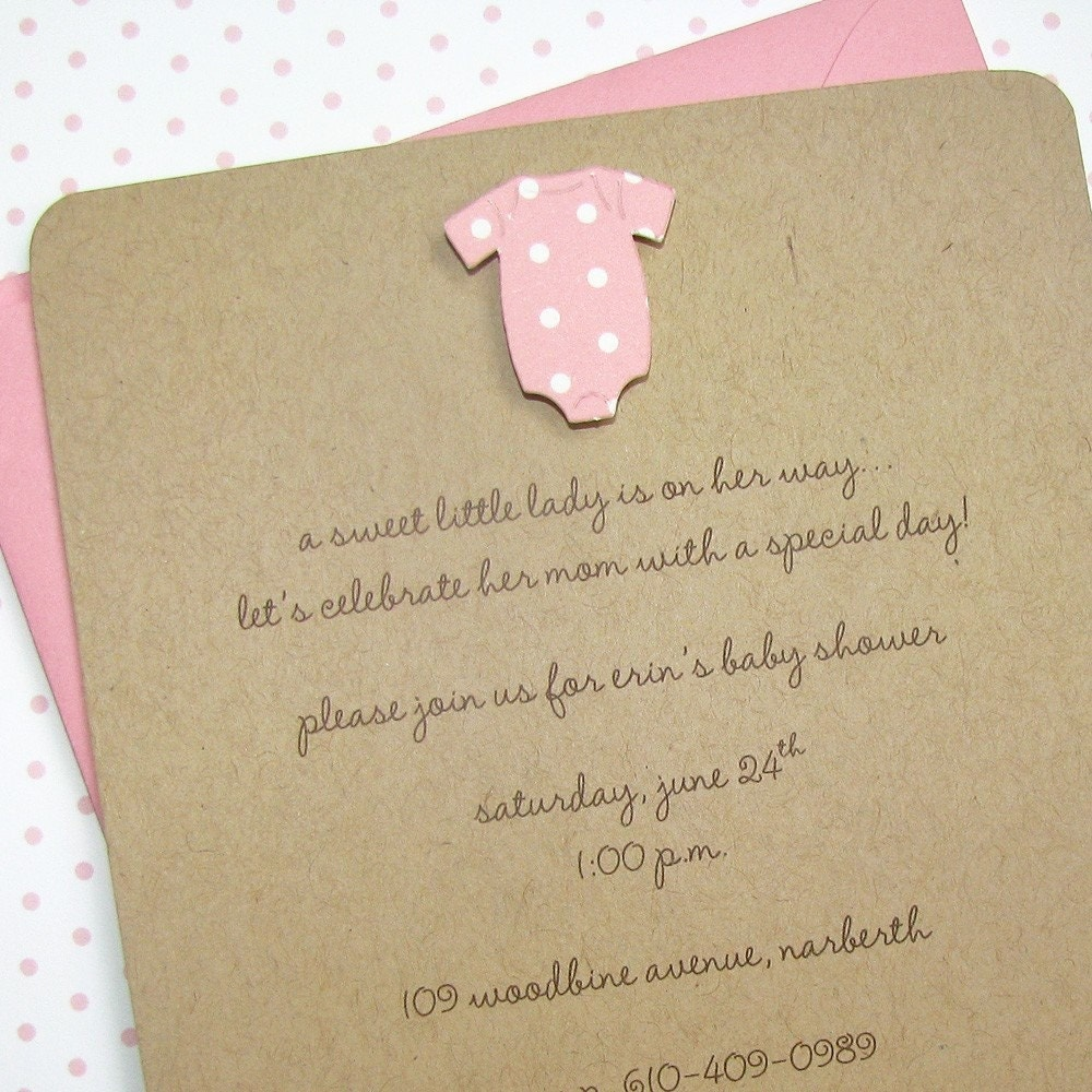 baby shower invitation girl onesie by graciegirlnotes on etsy