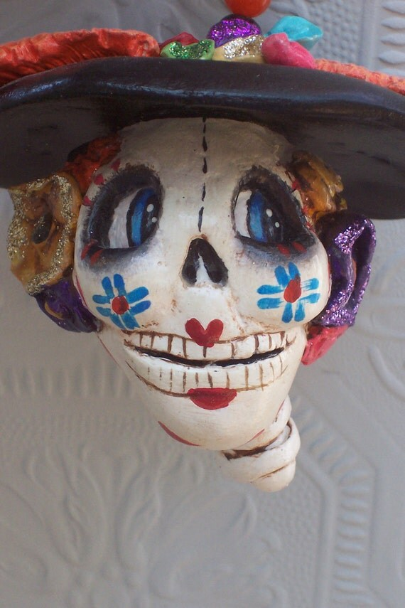 Hand Made Sculpted Clay Day of the Dead Catrina Ornament Hand Painted AHQU TREASURY ITEM