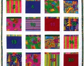Advent Calendar Christmas Art Quilt in Laurel Burch Fabrics - Holiday Wall Hanging - 20% OFF SALE