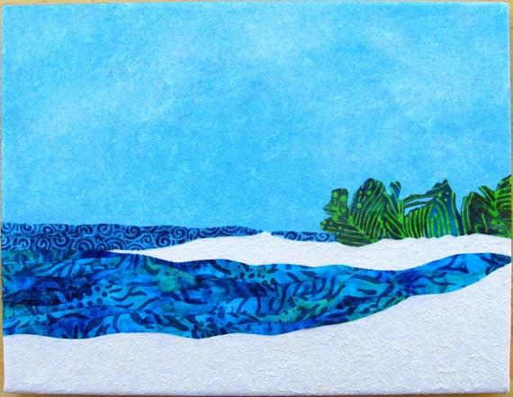 Caribbean Beach Art Mixed Media Acrylic Painting and Fabric Art Tropical Seascape of St Martin