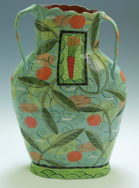 Green Vase  Flowerpot Inset. Handmade Ceramics by Nancy Gardner.