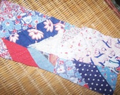 Small Pieces of Vintage Fabric and Feedsack Quilt Perfect for art supplies and hearts