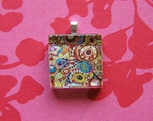 funky abstract - glass tile pendant