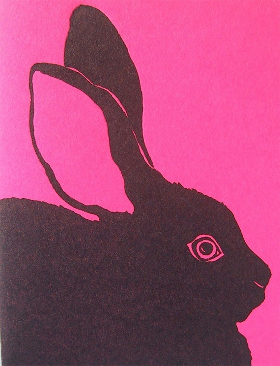 Bright Pink Black Bunny Card