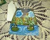 Handmade wall pocket Froggies in the pond. Yart Sale