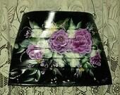 Black Handmade wall pocket with Roses