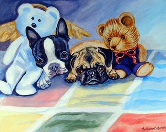 Pug and Boston Terrier Cute Adorable Giclee Fine Art Print or aceo card on Somerset Velvet Paper