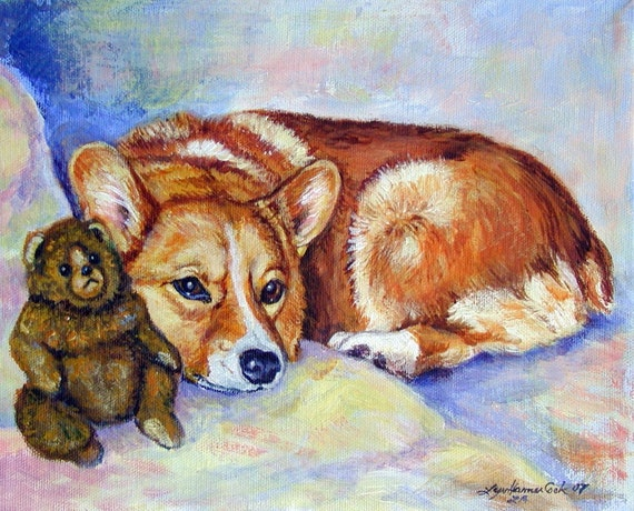 Pembroke Welsh Corgi Sweet Adorable Giclee Fine Art Print or aceo card
