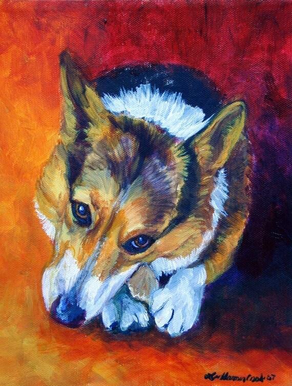 Pembroke Welsh Corgi dog Adorable Giclee Fine Art Print  Chewy Yummy