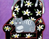 Gray Cats on Big Comfy Chair - ORIGINAL Painting- 8x10