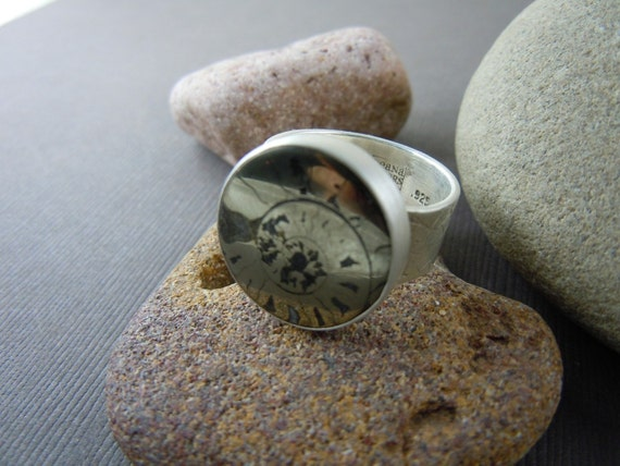 Handmade Pyritized Ammonite Fossil Ring