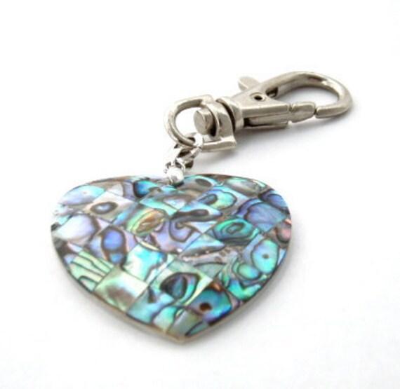 Abalone Shell Heart Charm / Purse Charm