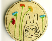Thistle - Large Floss Embroidered Hoop Art