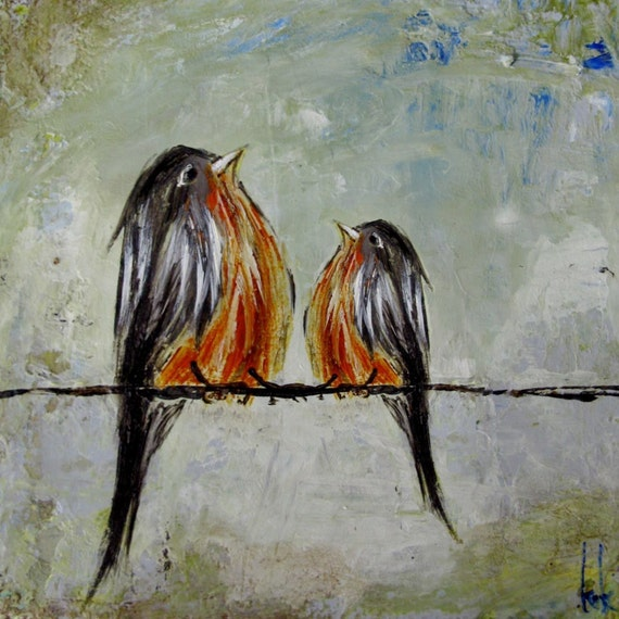 Mama and Me ~ Robins on a wire