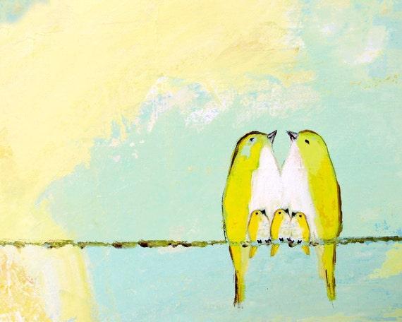 Blessed Beneath the Lemon Meringue Sky ~ Five birds on a wire