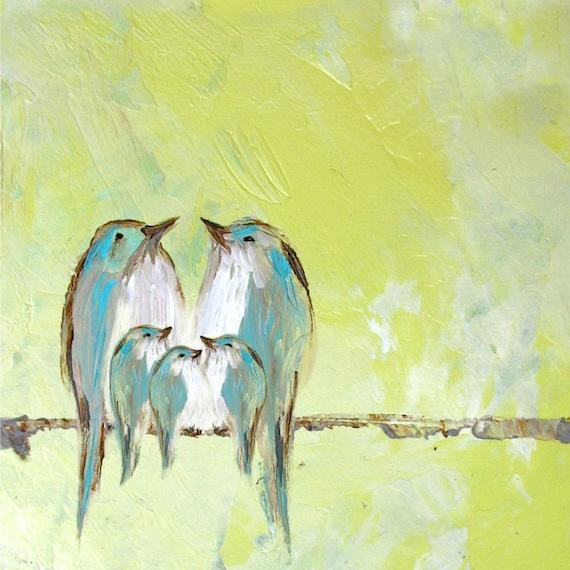 Dreaming in the Lemon Chiffon Sky (Art Print three baby birds and parents)