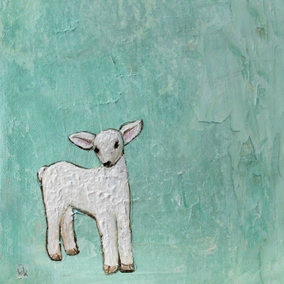 Little Lamb (8x10 Print of baby lamb with soft turquoise background)