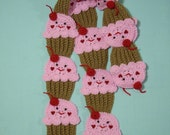 Cupcake Scarf Crochet foodie food Lt. Chocolate Cupcakes Strawberry Pink Frosting Face SCARF stemed 3D cherry Ships Now