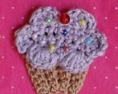 2in. CUPCAKE PIN brooch you choose color sprinkles cherry