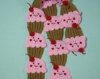 Chocolate Cupcakes SCARF Strawberry Pink Frosting Face stemed 3D cherry Super Soft Ships Now