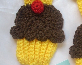 Cupcakes SCARF crochet Yellow Chocolate Frosting 3D Cherry Super Soft crochet cupcake cupcake scarf sweet Choose Length foodie Made To Order