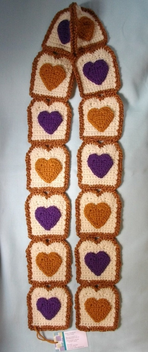 I Heart Peanut Butter / Grape Jelly Toast SCARF Super Soft 50 in. long Custom