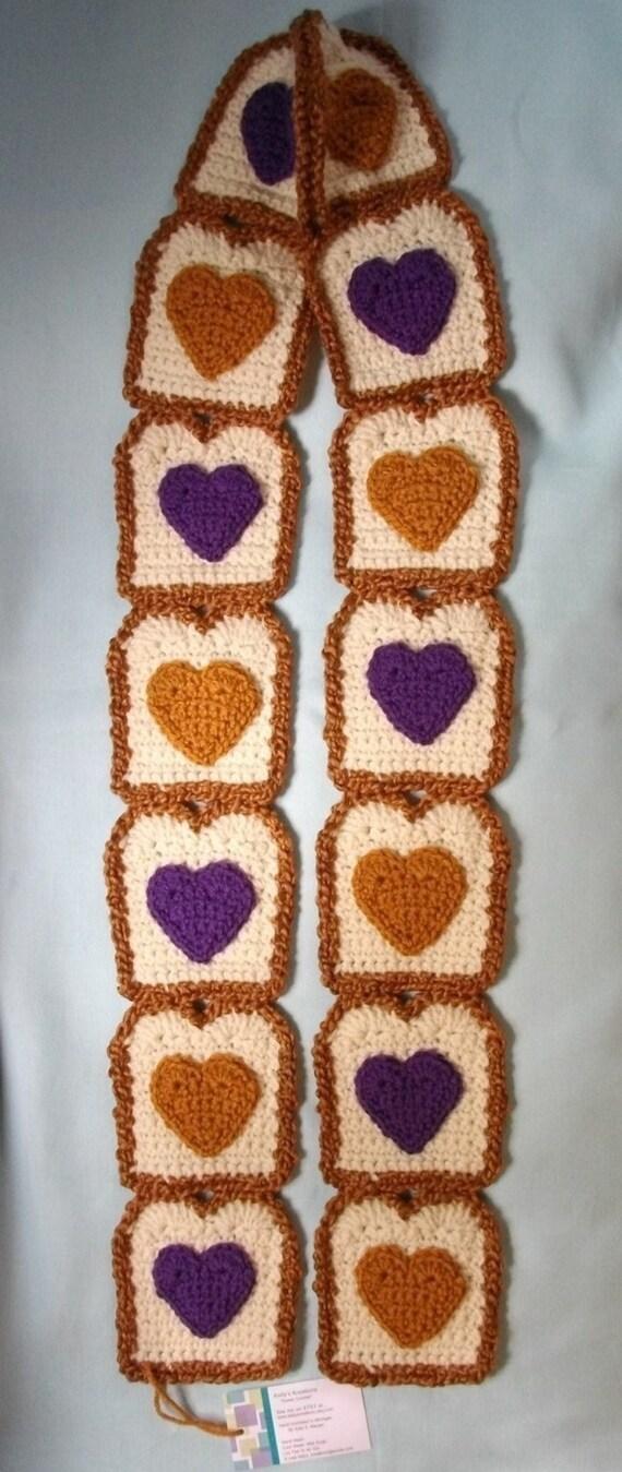 Super Soft  I Heart Peanut Butter / Grape Jelly Toast Scarf Ships Now