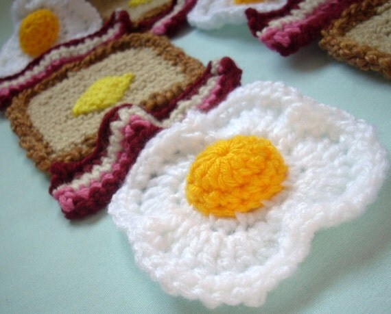 Ready To Ship Reddish Pink Bacon, Eggs and Whole Wheat Toast with Butter SCARF Super Soft