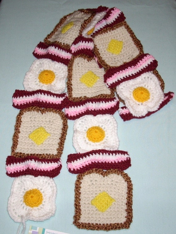 Raw Bacon, Eggs and Toast with Butter Scarf Super Soft Made To Order