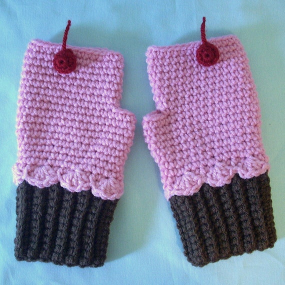 Chocolate Pink Cupcake Mittens Crochet Fingerless Texting Gloves CUSTOM