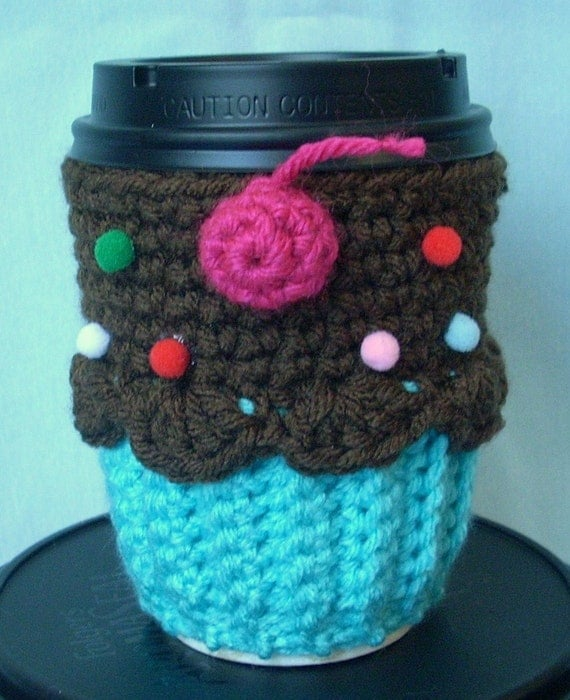 Ready To Ship Cupcake Coffee Cup Cozy Turquoise Chocolate Pink Cherry