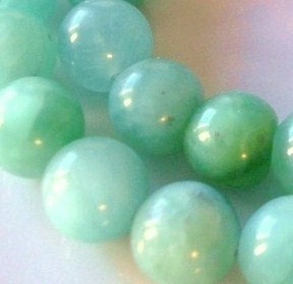 Lustrous Blue Green 8mm  Round  AMAZONITE  Beads - Half  strand