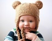 RESERVED LISTING -- Bear Hat with Earflaps  -- by Knittinmama