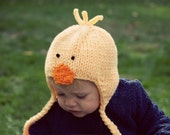 SALE - Little Ducky Hat - 6-12 month size - knit by knittinmama