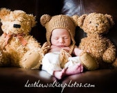 SALE - 0-2 week size - Bear Hat with Earflaps - by Knittinmama