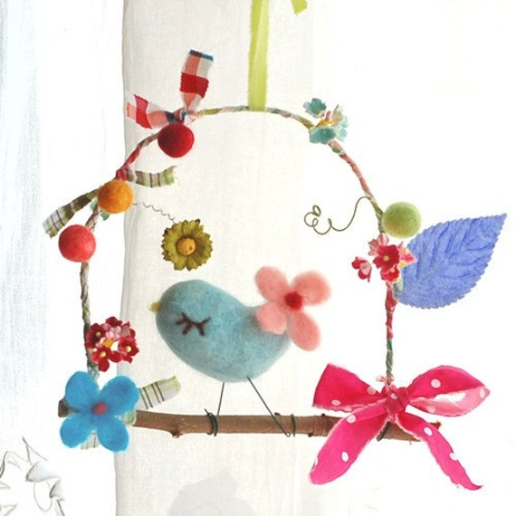 a little BIRDie and flowers (blue, pink tail)