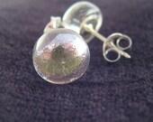 Silver Dichroic Glass Stud Earrings