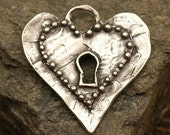 Rustic Dotted HEART Pendant with Key Hole in Sterling Silver