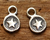 Set of 25 --- Tiny Round Star Charm in Sterling Silver