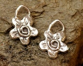 TWO Rustic Flower Charms with Spirals in Sterling Silver