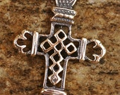 Small Ethiopian Lattice Cross in Sterling Silver